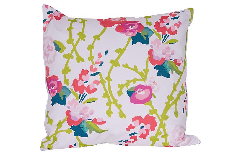 Chintz 22x22 Pillow, White