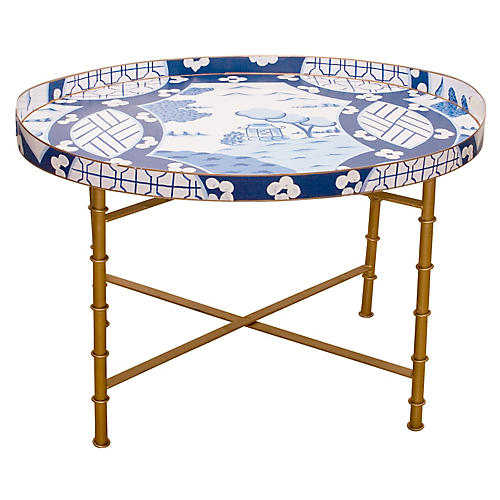 "28"" Canton Tray/Coffee Table, Blue"