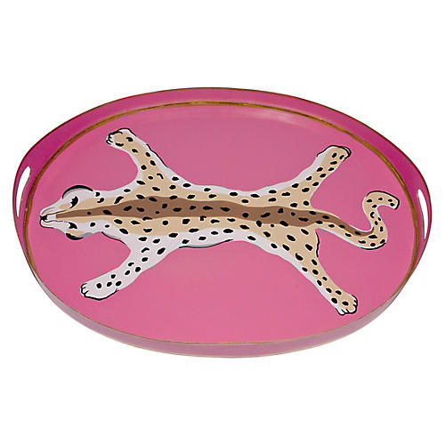 "20"" Oval Leopard Tray, Pink"