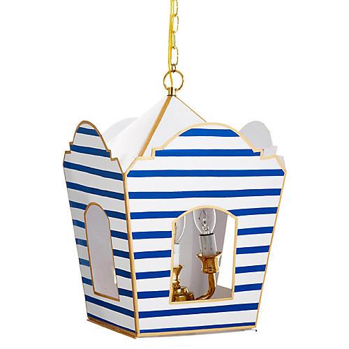 Mod Lantern, Blue Pinstripe