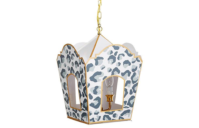 Mod Lantern - Gray Cheetah Print