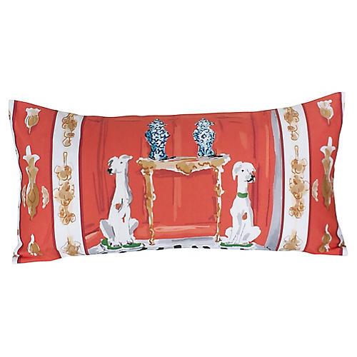 Dog 12x24 Lumbar Pillow, Orange