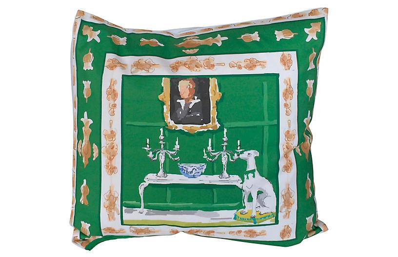 Dog 24x24 Pillow, Green