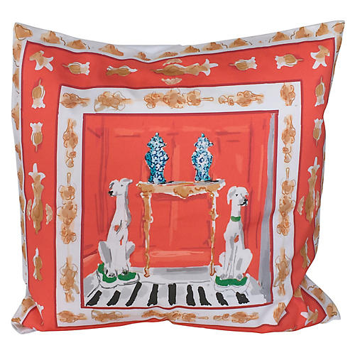 Dog 24x24 Pillow, Orange