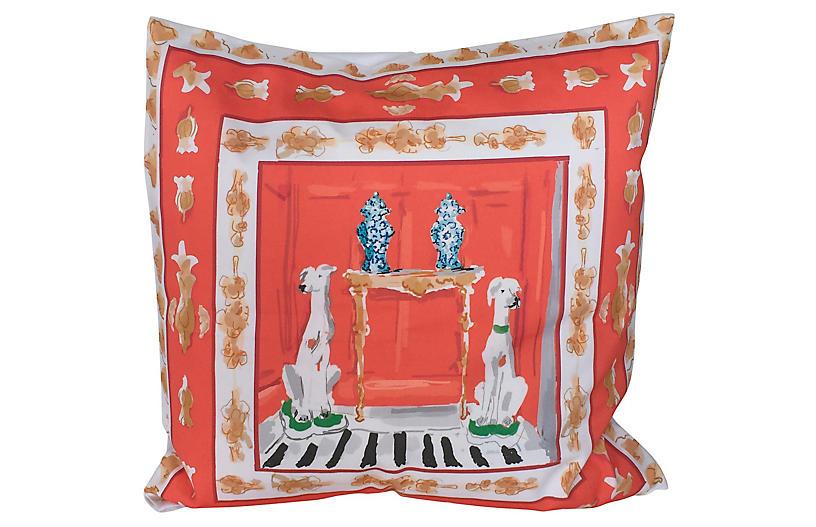 Dog 24x24 Pillow, Orange