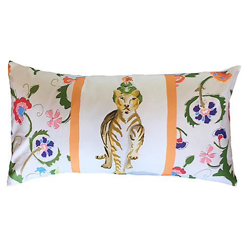 Tiger Raj 16x30 Lumbar Pillow, Orange/Multi