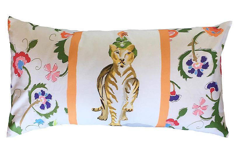 Tiger Raj 16x30 Lumbar Pillow, Orange/Multi