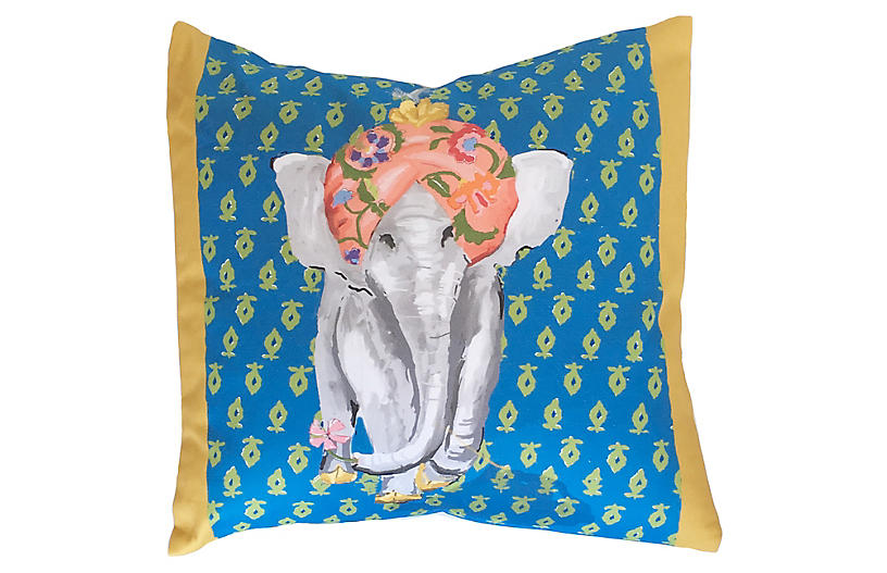 Elephant 18x18 Pillow, Blue