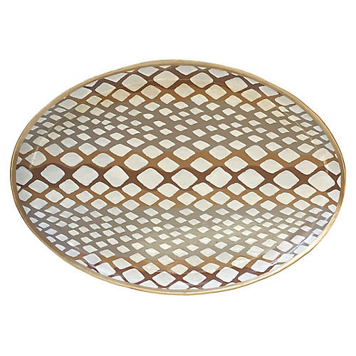 "19"" Python Decorative Tray, Gray"