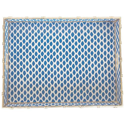 "20"" Parsi Rectangular Tray, Blue/Gold"
