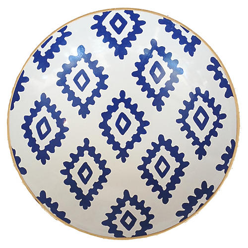 "11"" Block-Print Decorative Bowl, Navy/White"