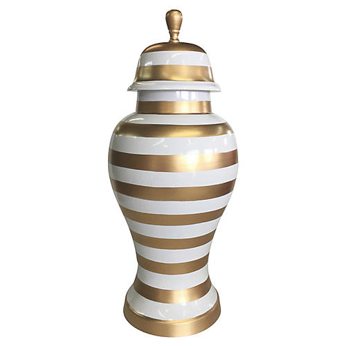 "16"" Striped Ginger Jar, Gold/White"