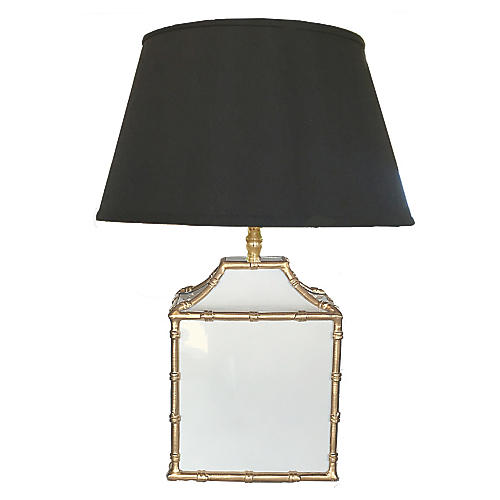 Pagoda Table Lamp, White/Gold