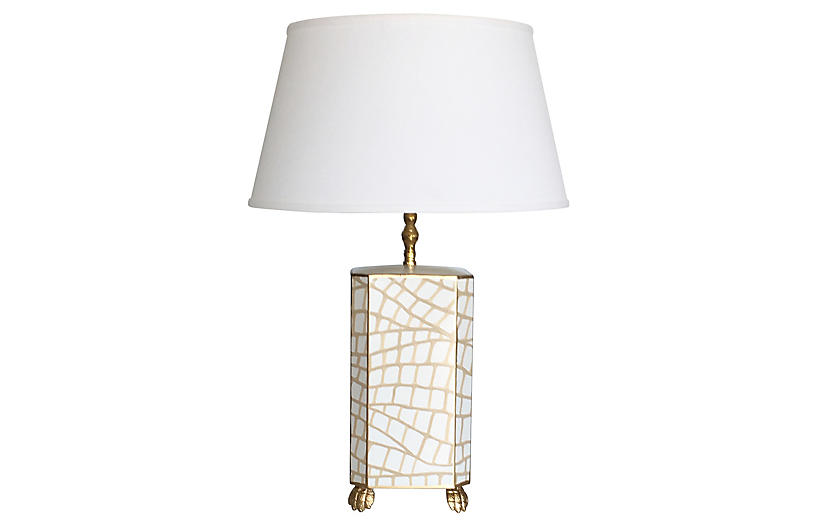 Croc Table Lamp, White/Gold
