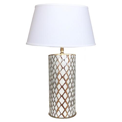 Python Table Lamp, Gray/Brown