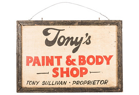 Tony's Paint and Body Shop Sign