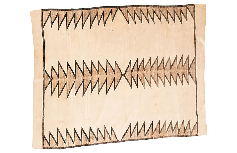 Large Navajo-Style Brown and Cream Rug
