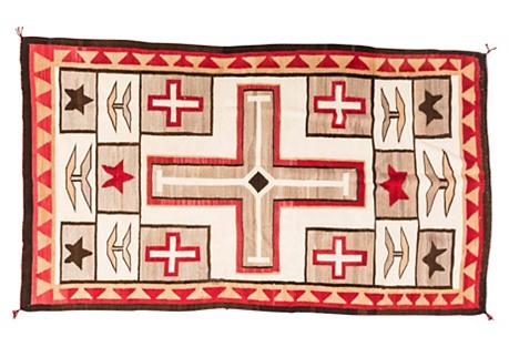 Large Navajo-Style Cross Rug