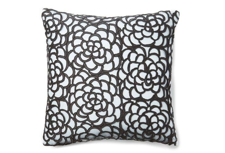 Chrysanthemum Lace 16x16 Pillow, Smoke