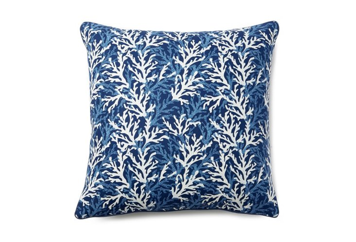 Coral Branch 20x20 Pillow, Navy