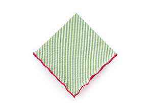 S/4 Seersucker Cocktail Napkins, Leek