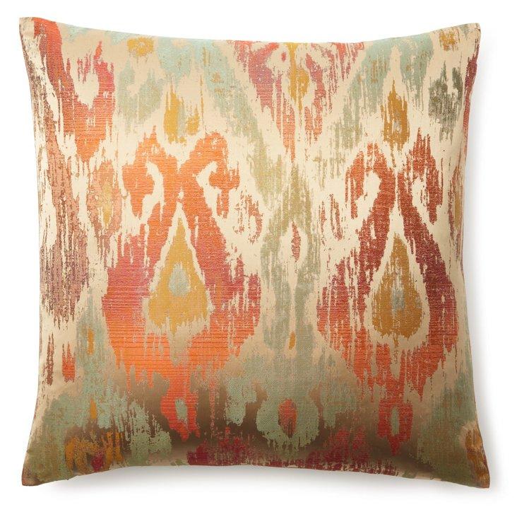 Aurora 22x22 Linen-Blended Pillow, Coral