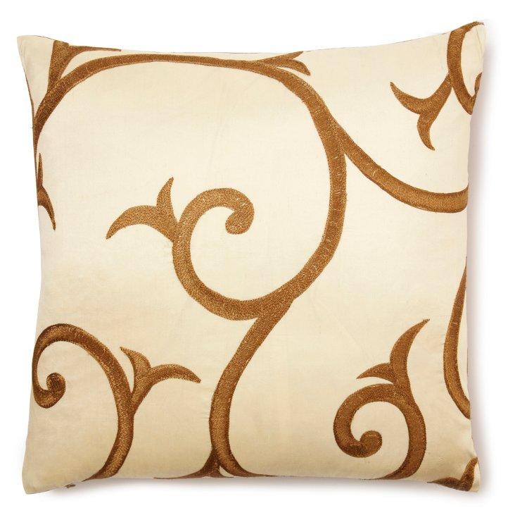Super Scroll 22x22 Pillow, Ivory