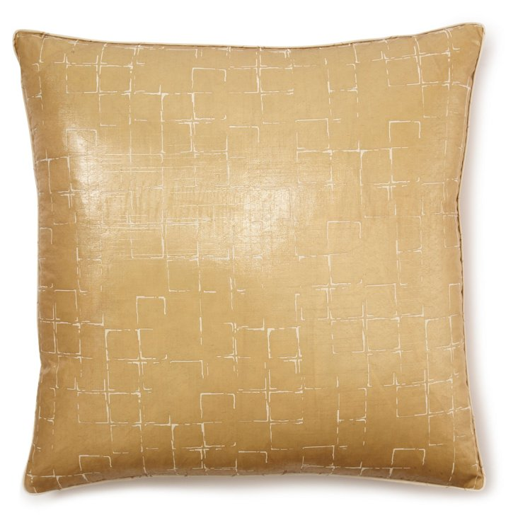 Check 22x22 Pillow, Beige
