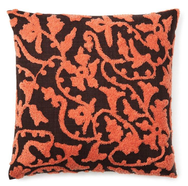 Bouclé Vine 20x20 Pillow, Coral