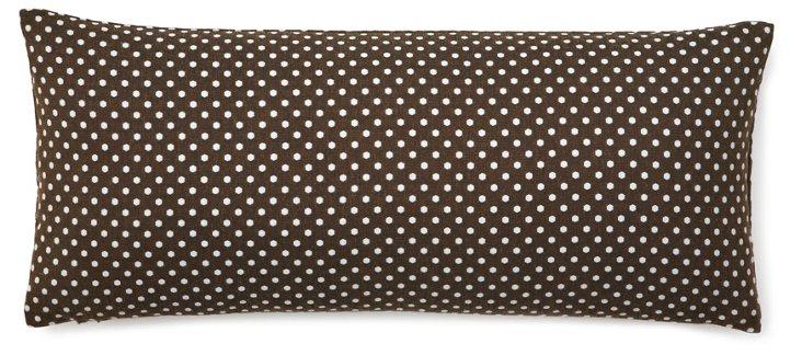 Mini Polka 12x26 Pillow, Brown/Sky