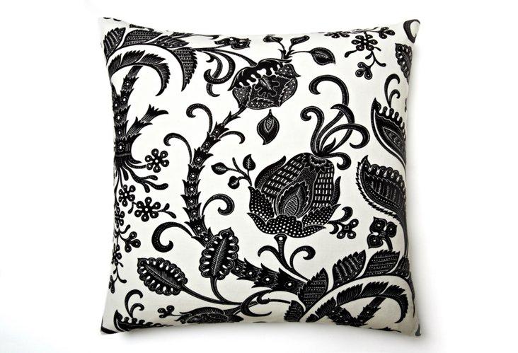 Botany 18x18 Pillow, White/Black