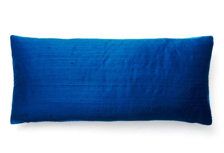 Crushed 12x26 Linen/Cotton Pillow, Blue