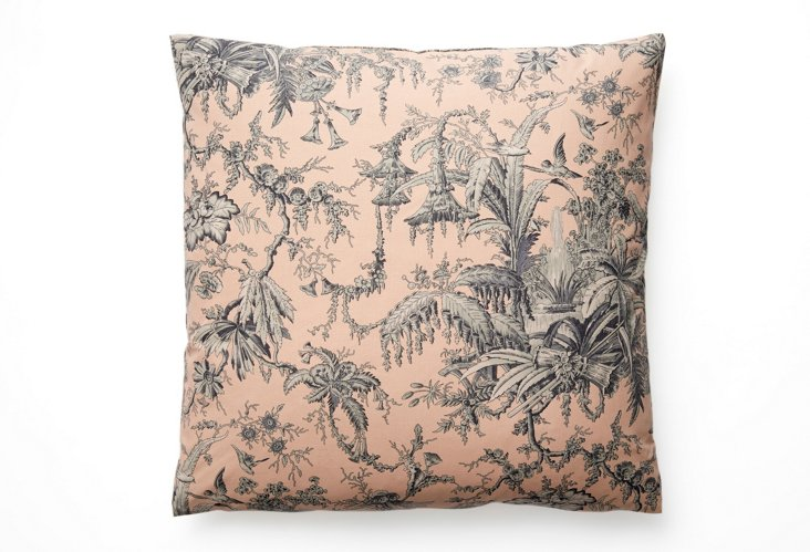 Toile 16x16 Pillow, Blue/Natural