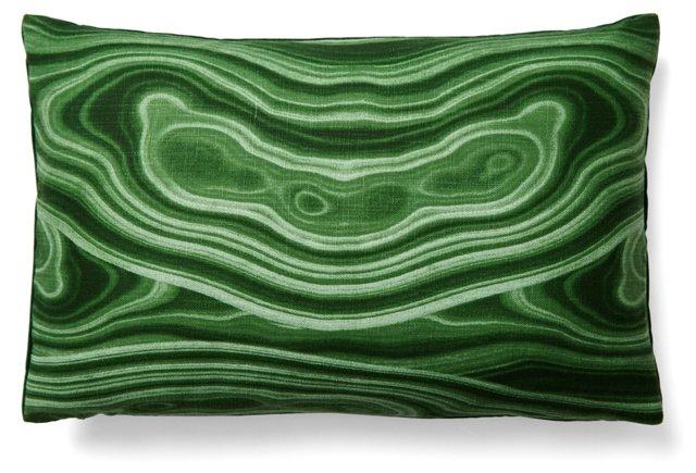 Avery 12x18 Linen/Velvet Pillow, Green