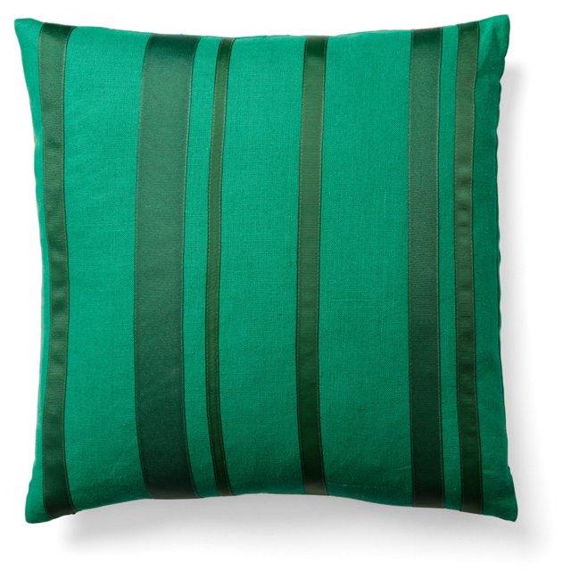 Striped 16x16 Linen Pillow, Hunter Green