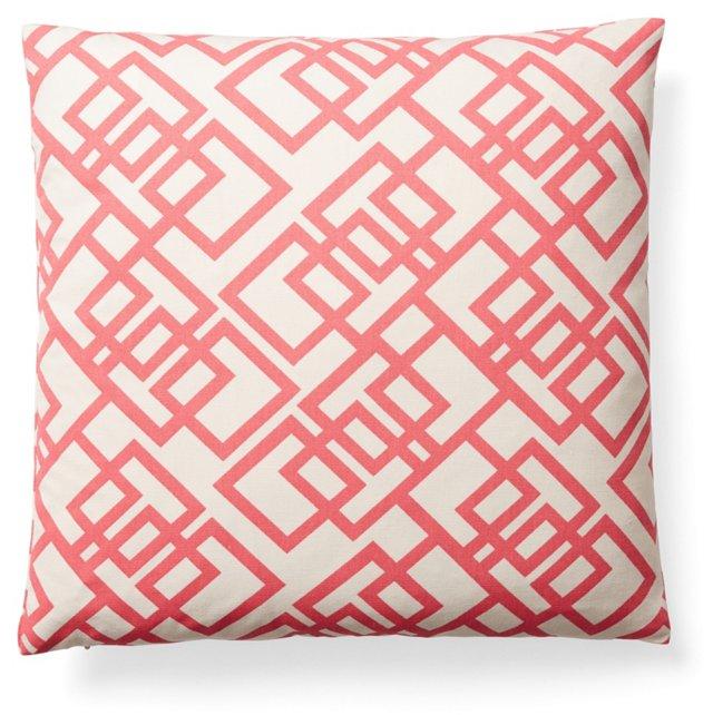 Interlock 16x16 Cotton Pillow, Coral
