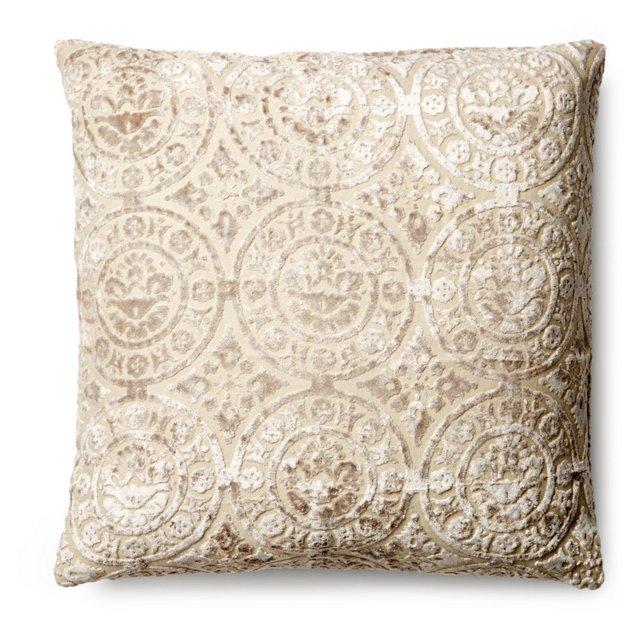 Motif 20x20 Velvet-Blend Pillow, Beige
