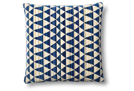 Gamut Cut 22x22 Pillow, Blue/Beige