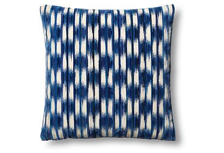 Essence Cut 24x24 Pillow, Blue/Beige