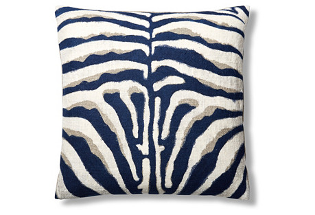 Zebra Hand-Painted 24x24 Pillow, Navy