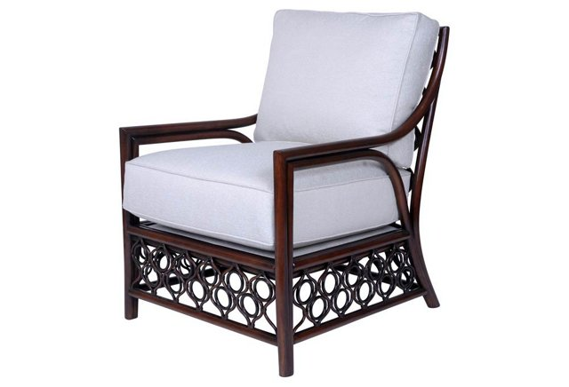 Allegria Rattan Lounge Chair, Frost