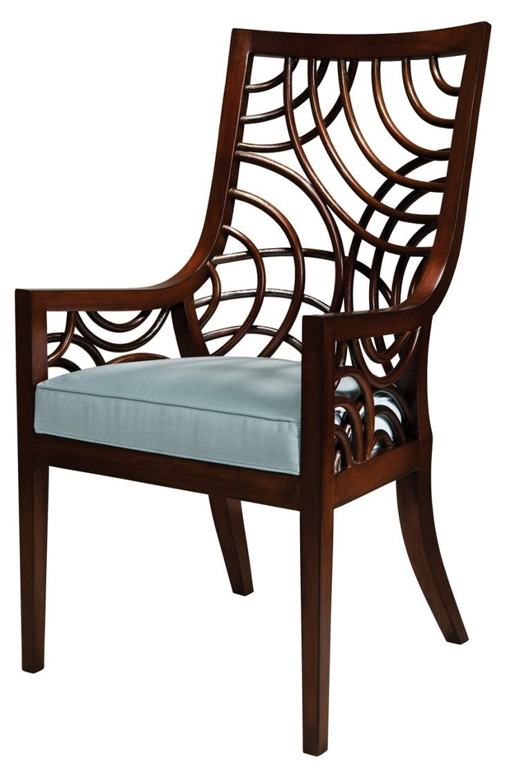 Manhattan Rattan Armchair, Blue Slate