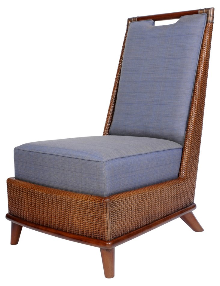 Grenada Rattan Lounge Chair, Cobalt