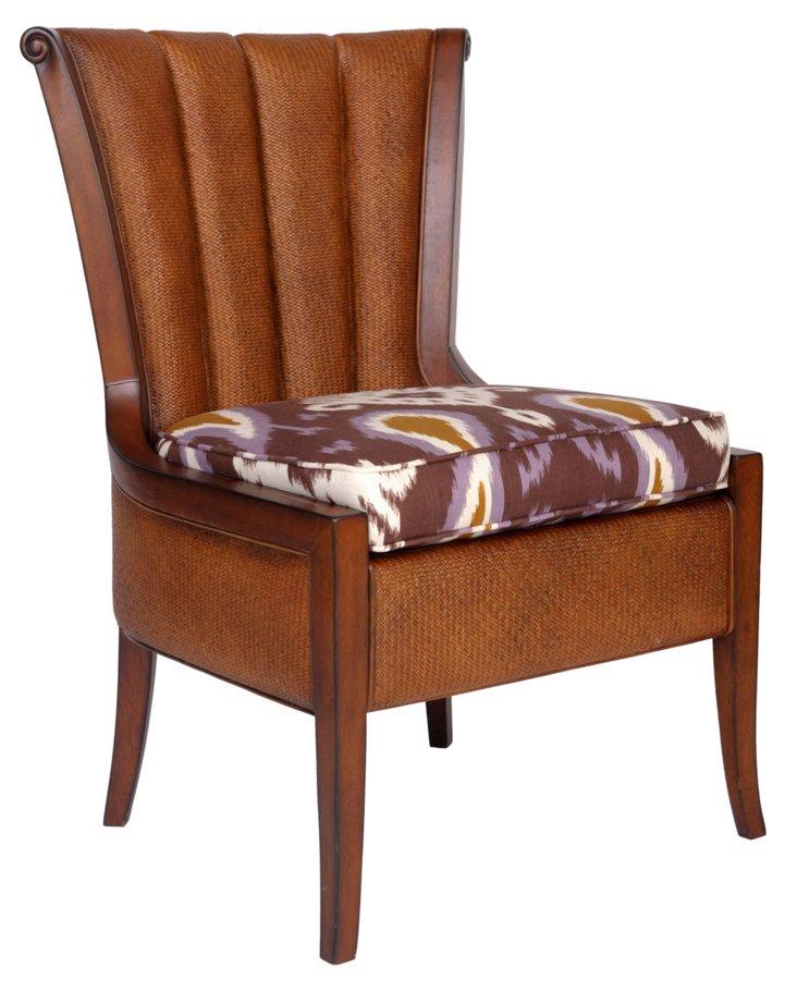 Portofino Cotton Chair, Aubergine/Cream