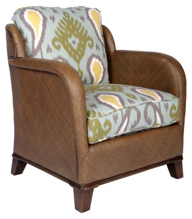New Canaan Ikat Lounge Chair, Light Blue