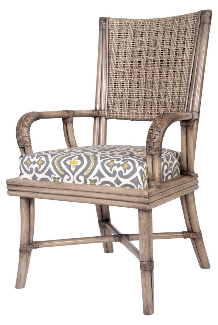 Brisbane Rattan Armchair, Gray/Yellow