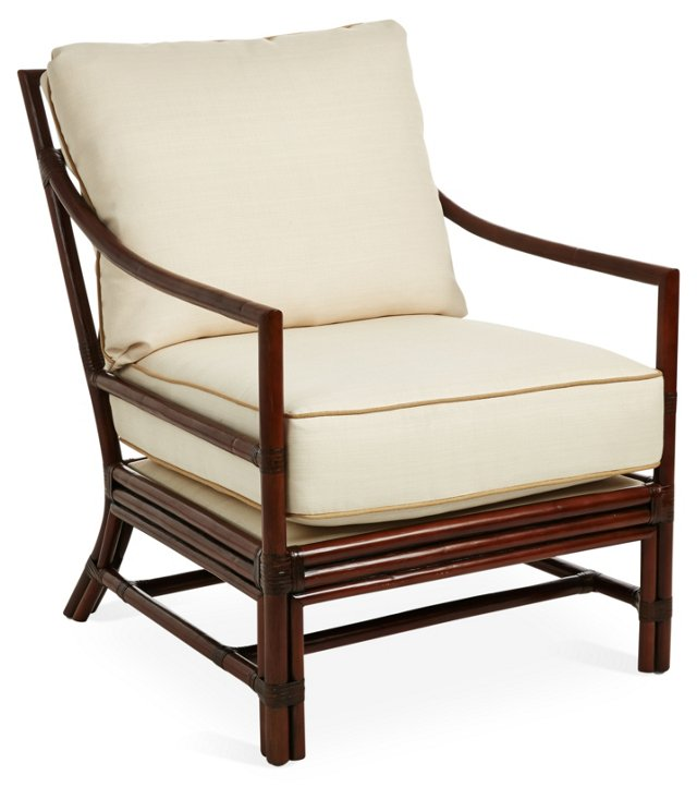 Carter Rattan Lounge Chair, Alabaster