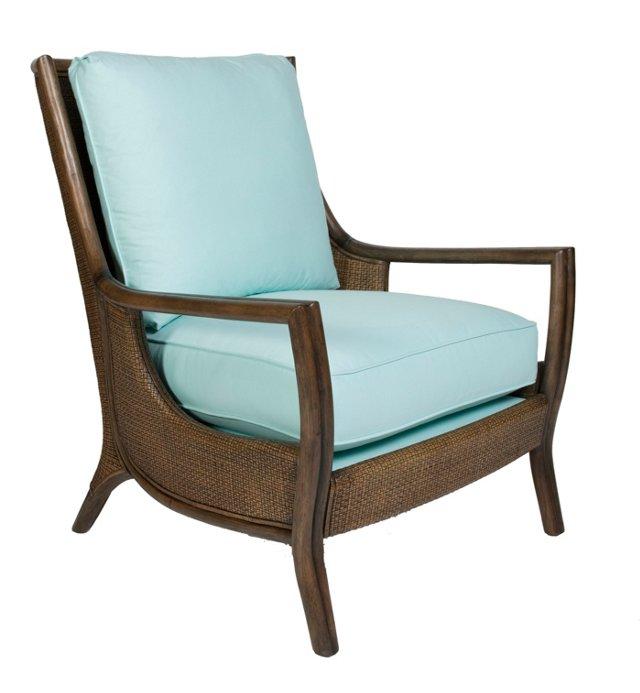 Antigua Cane Lounge Chair, Tiffany Blue