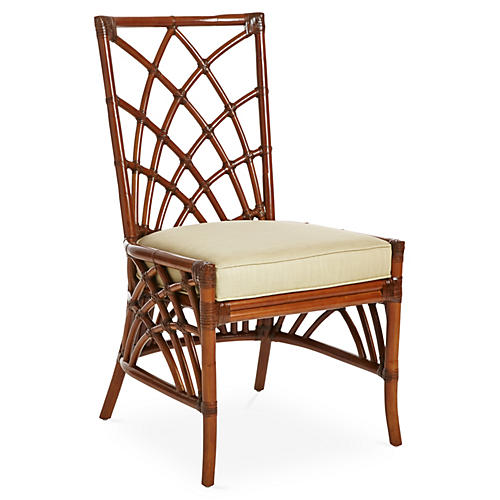 Cathedral Rattan Side Chair, Khaki