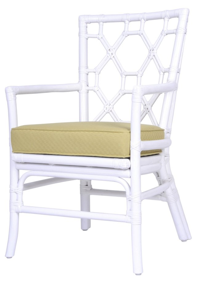 Lattice-Back Rattan Armchair, Celery
